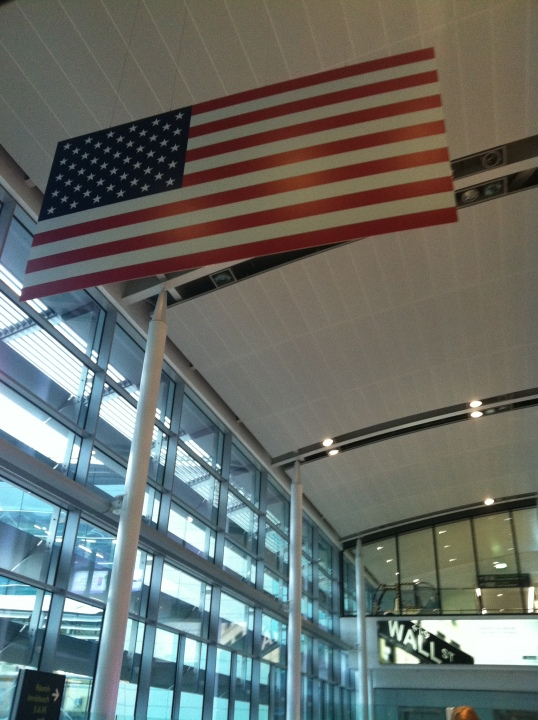 Don't worry, it is impossible to lose your way in Dublin airport if you're headed to U.S. Pre-Clearance. Just follow the ENORMOUS flags hanging and the plethora of signs.
