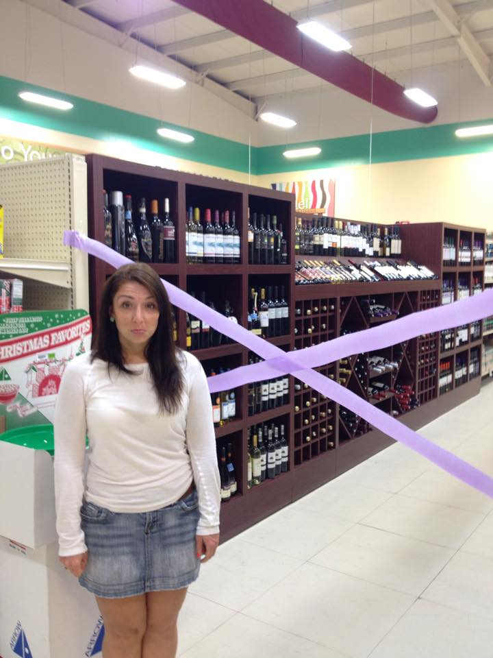 Dry Law on Sundays means sometimes you go to the grocery store and the entire booze aisle is blocked off with  streamers. Thanks for capturing this classic moment, Sarah!