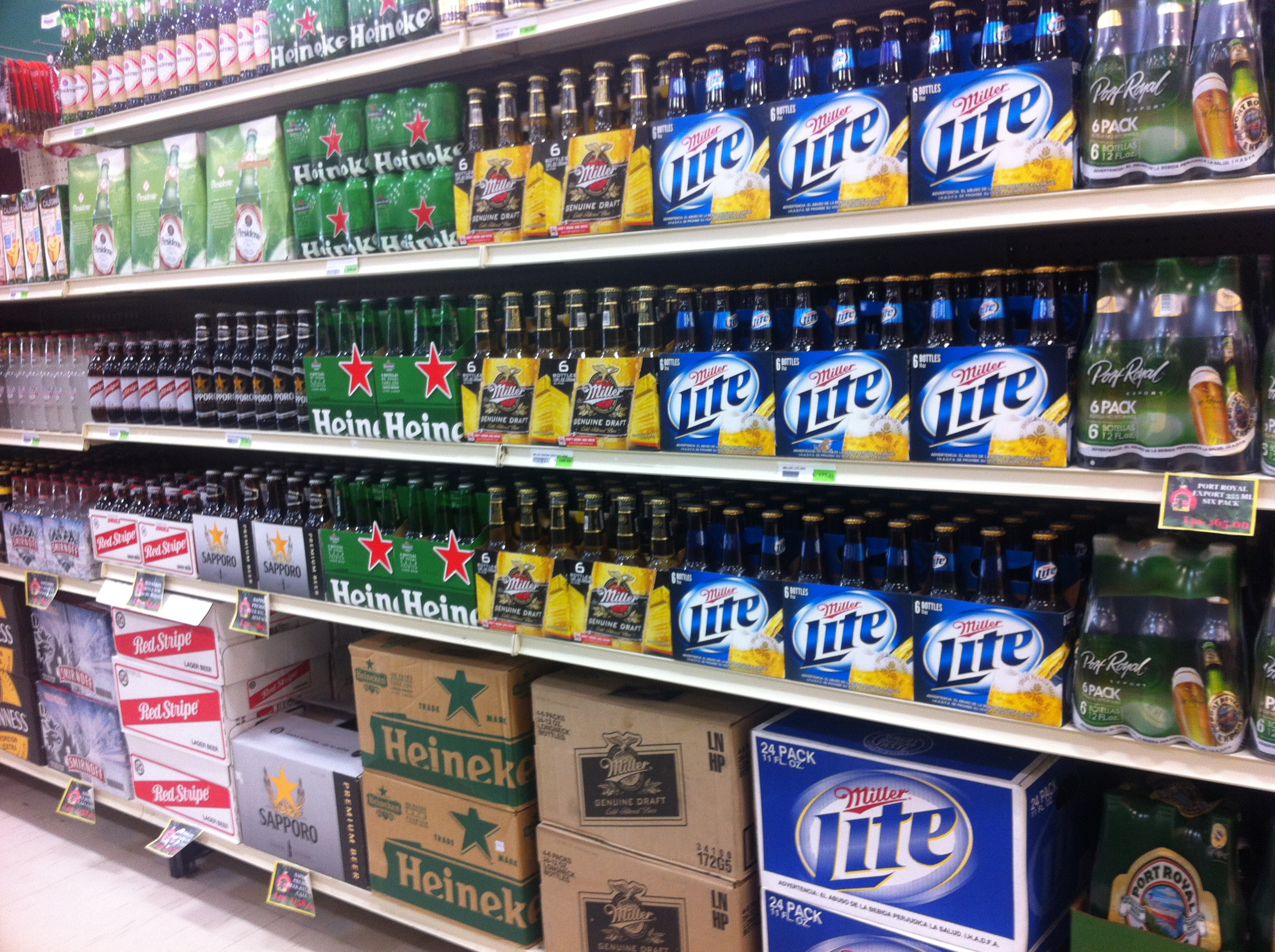 A sample of the imported beers available at Eldons grocery store in Roatan.